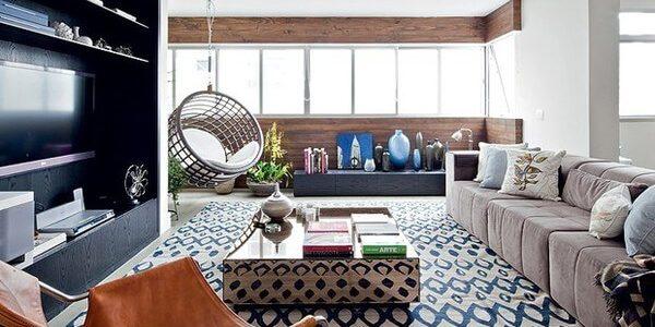 decoração de sala de estar ampla