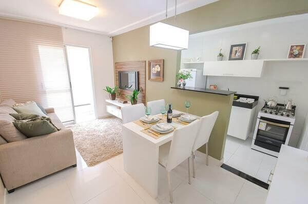 Decoração de sala com cozinha tendência
