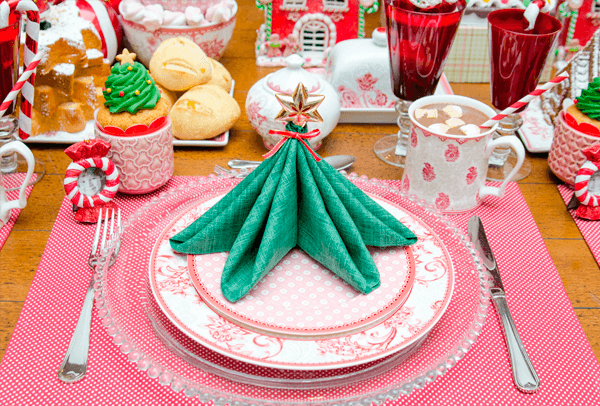 Natal com estrela no guardanapo