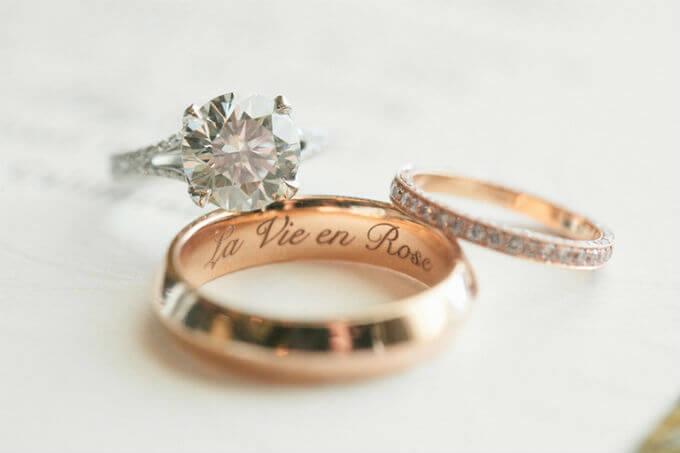 Aliança de casamento com Frase