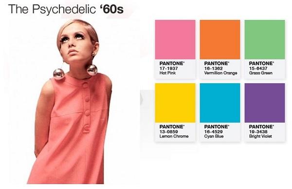 Paleta de cores anos 60