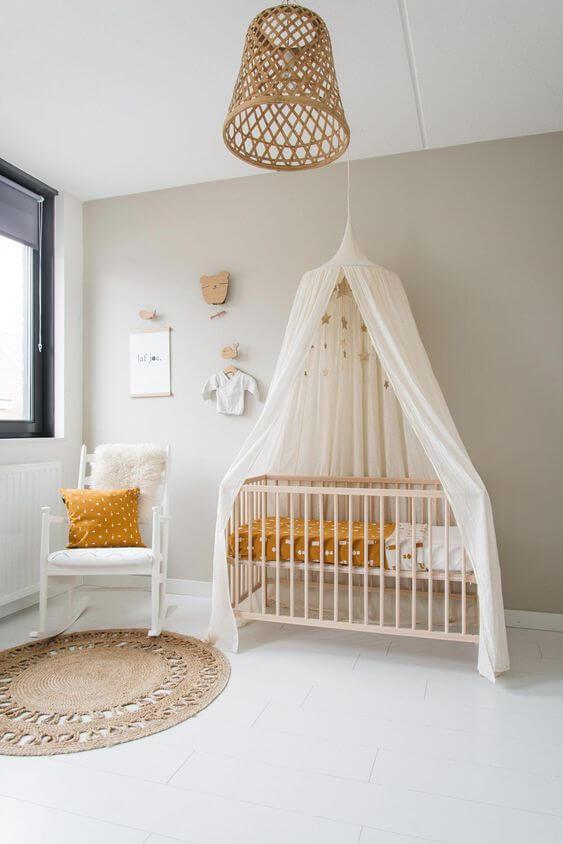Decoração natural de quarto de bebê
