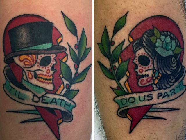 Tatuagem de casal old school