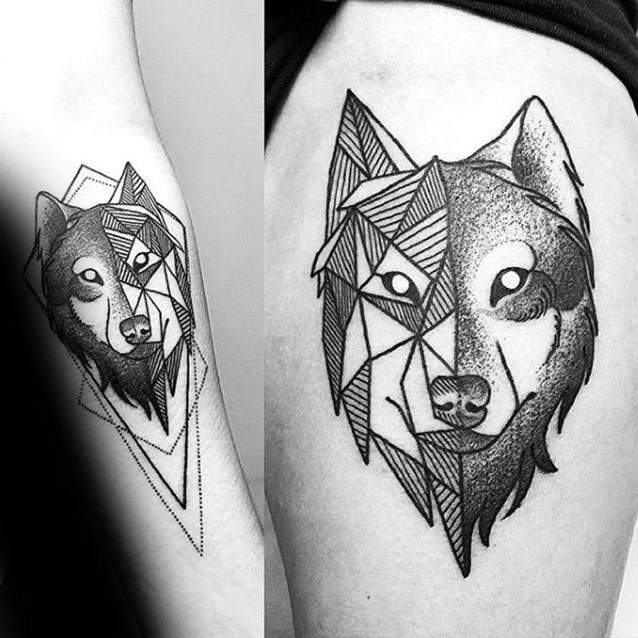 Tatuagem feminina de lobo geométrica 2