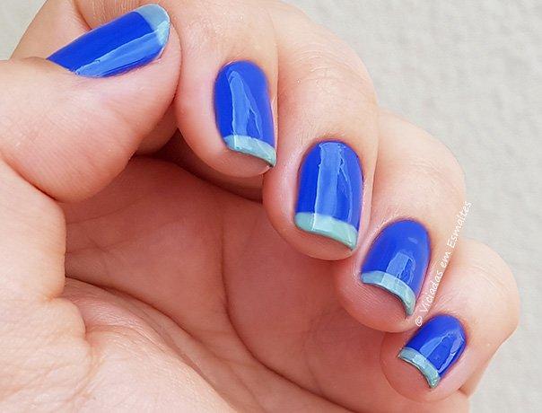 Unha decorada em azul francesinha