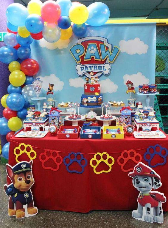 mesa decorada patrulha canina 2020