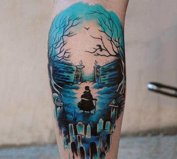 cool-blue-hued-watercolor-tattoo-on-legs-for-men