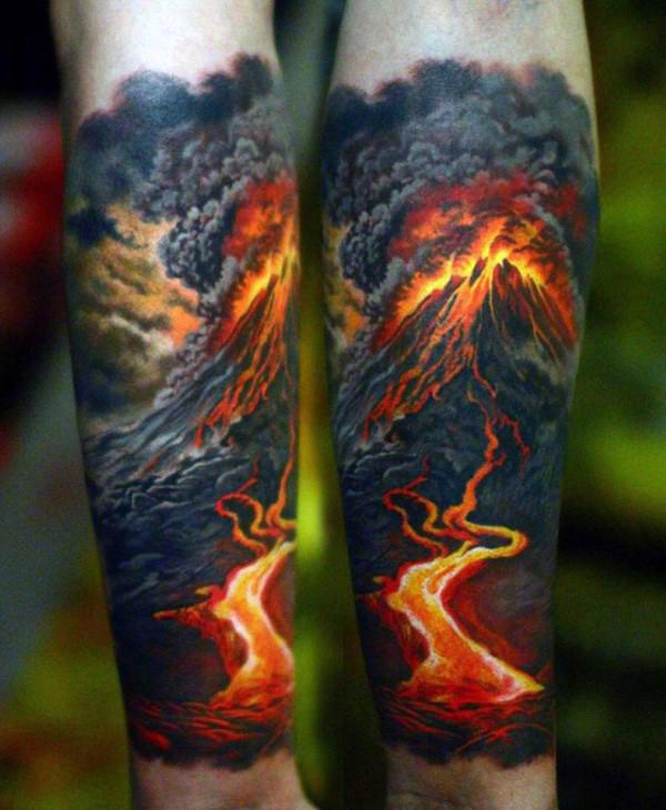 mens-forearm-sleeve-volcano-hot-lava-badass-tattoos