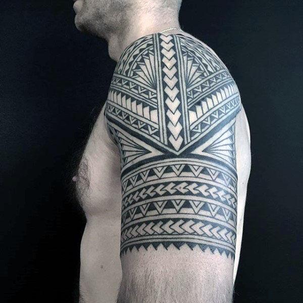 polynesian-tribal-arm-half-sleeve-tattoo-designs-on-guys