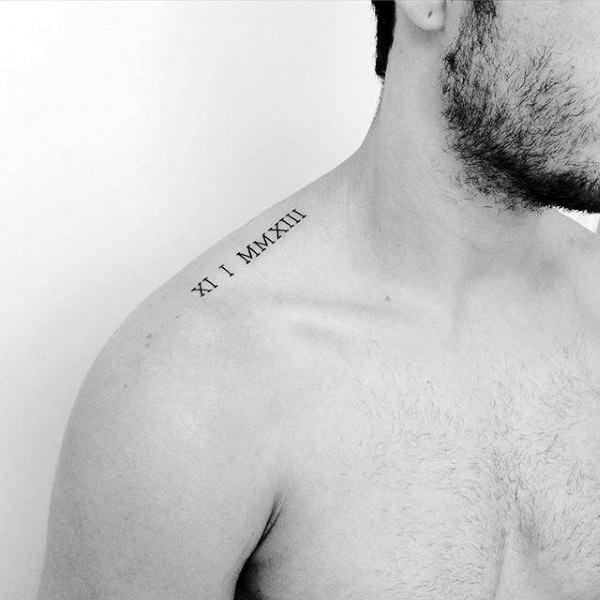 roman-numerals-minimalist-mens-collar-bone-tattoo-ideas