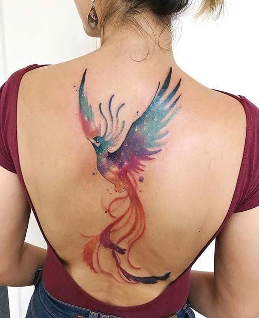 tatuagem de fênix aquarela 2