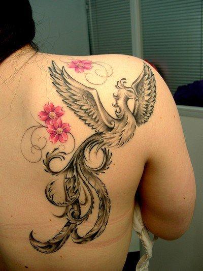 tatuagem de fênix sombreada