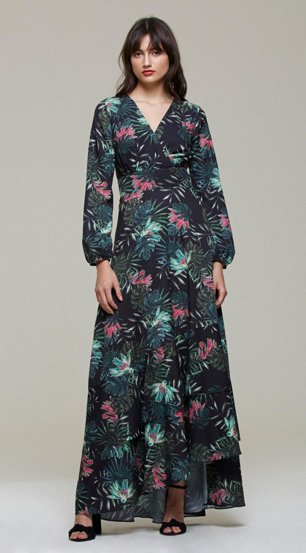 vestido estampado longo 2021