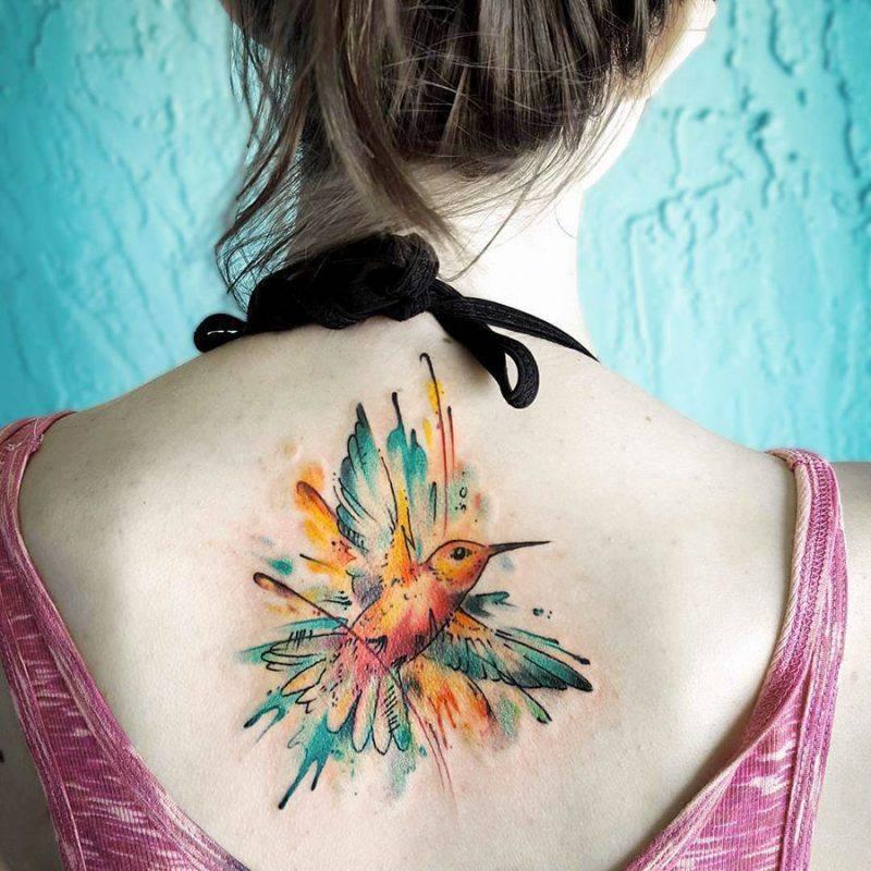Hummingbird back tattoos