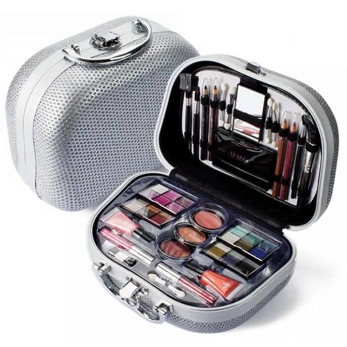 Maleta com kit de maquiagem da Fenzza prata