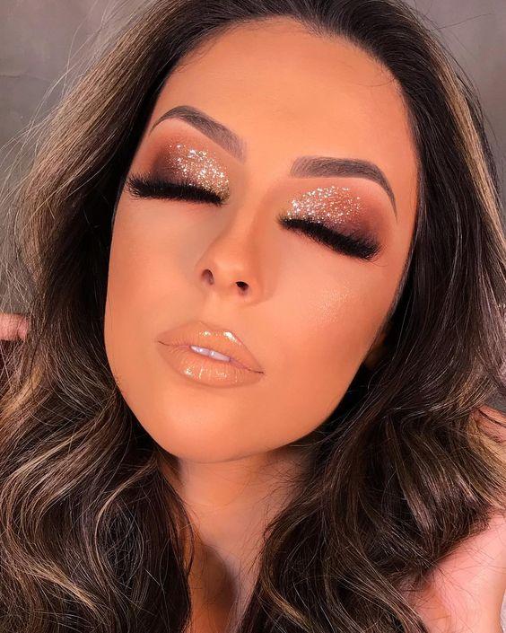 maquiagem para casamento com glitter