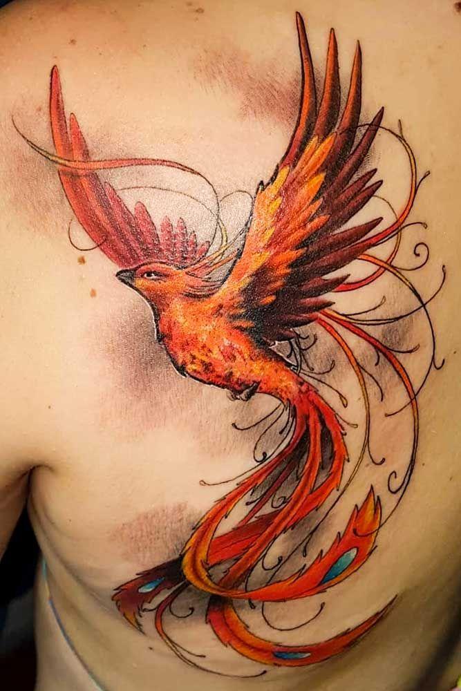 Tatuagem feminina de fênix new school 2021
