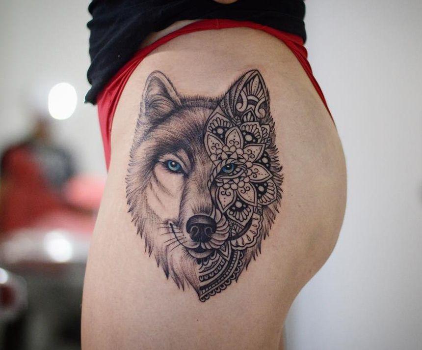 Tatuagem feminina de lobo grande 2021