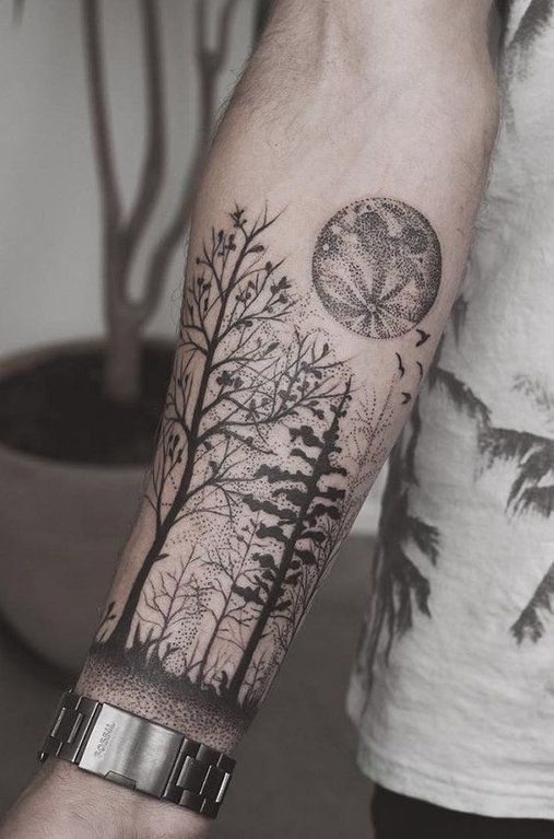 Tatuagens masculinas no braço de pontilhismo 2021