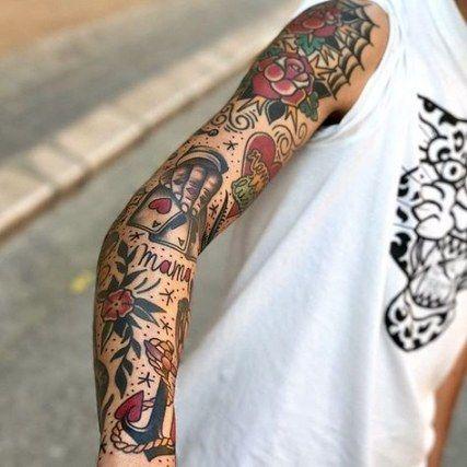Tatuagens masculinas no braço old school 2021