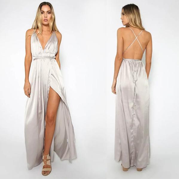 Vestido de festa com costas nuas