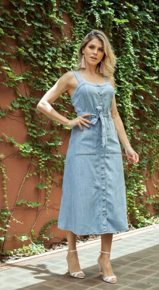 Vestido jeans midi 2021
