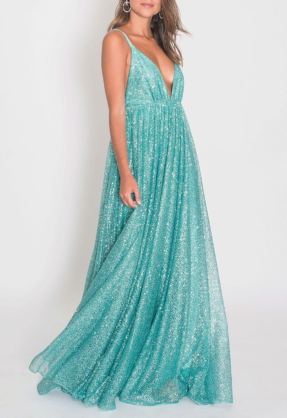 Vestido longo de saia rodada com brilho