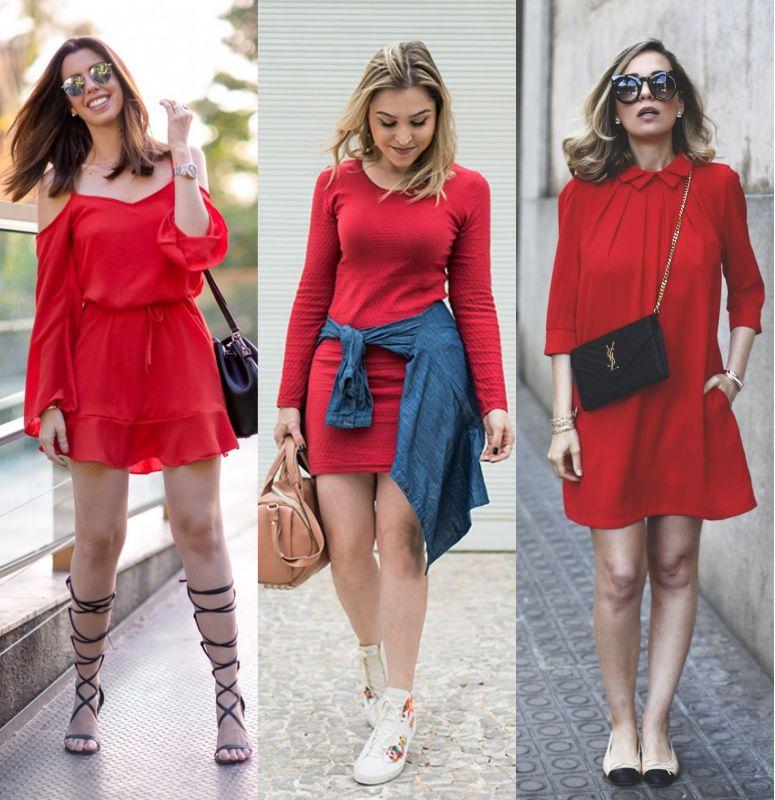 Vestido vermelho casual com acessórios