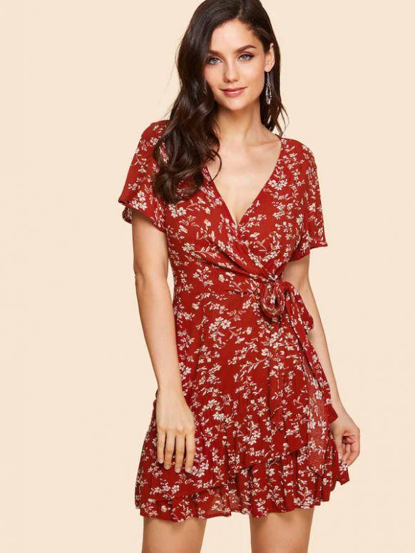 Vestido vermelho casual estampado