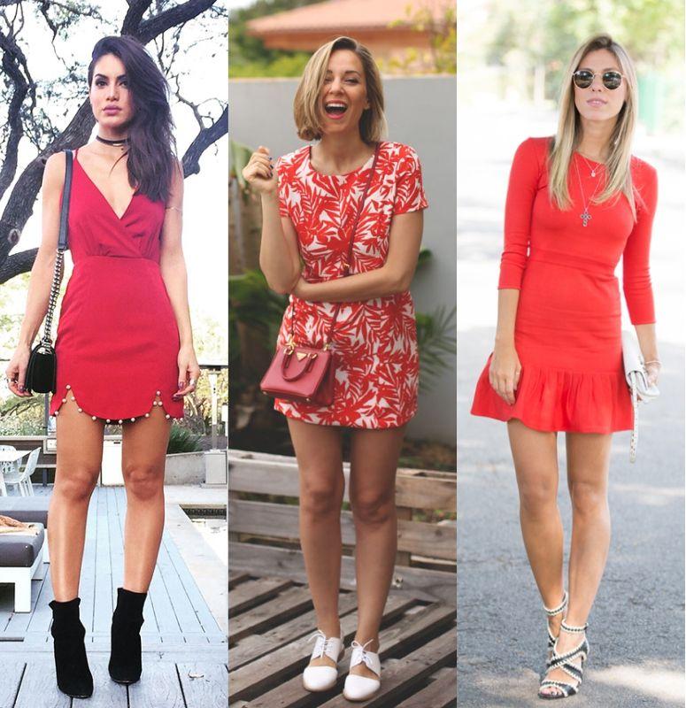 Vestidos vermelhos casuais curtos