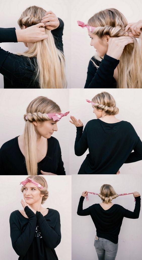 cabelos ondulados com lenço
