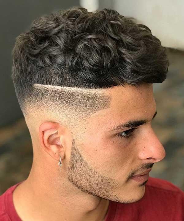 corte de cabelo com listras masculino