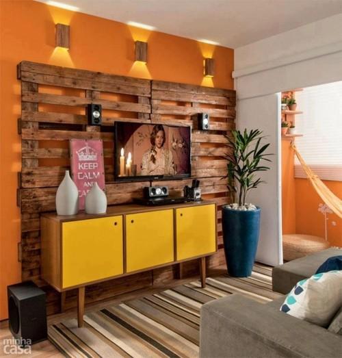 decoração de sala pequena sustentável