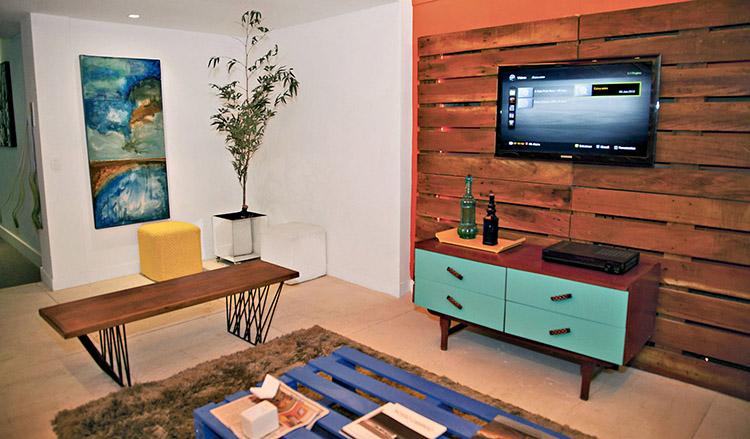 decoração sala pequena sustentável