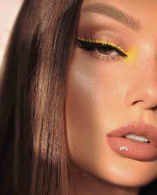 delineado amarelo e gloss