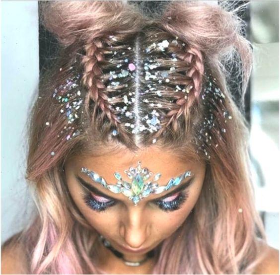 glitter no penteado