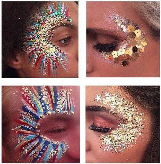 glitter no rosto