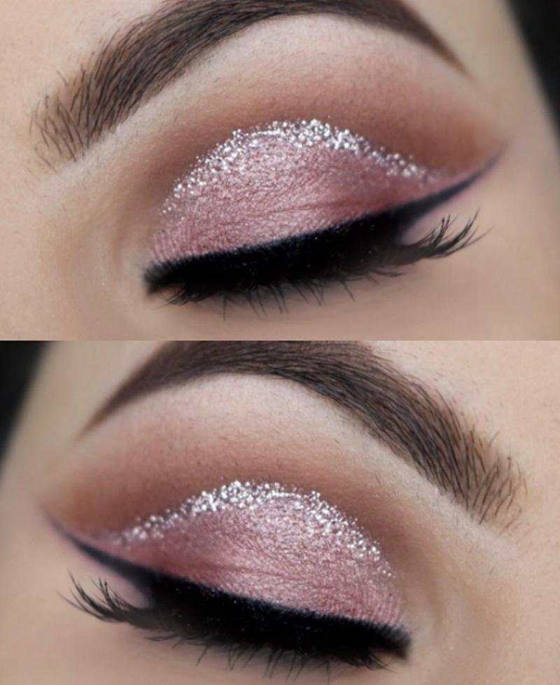 maquiagem cut crease com glitter