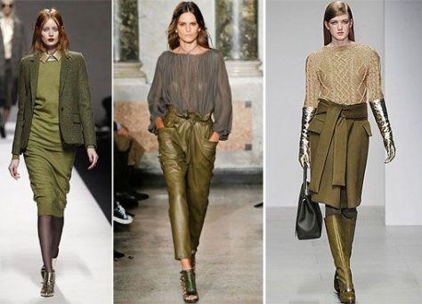 moda inverno cor verde-oliva