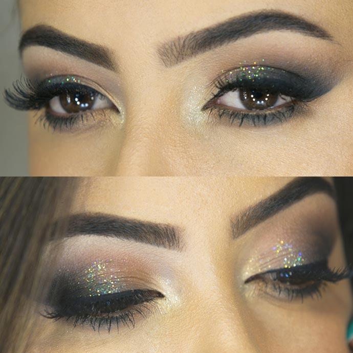 olho esfumado com glitter