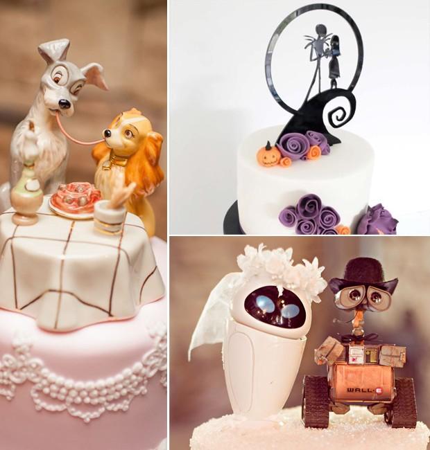 personagens em topo do bolo de casamento