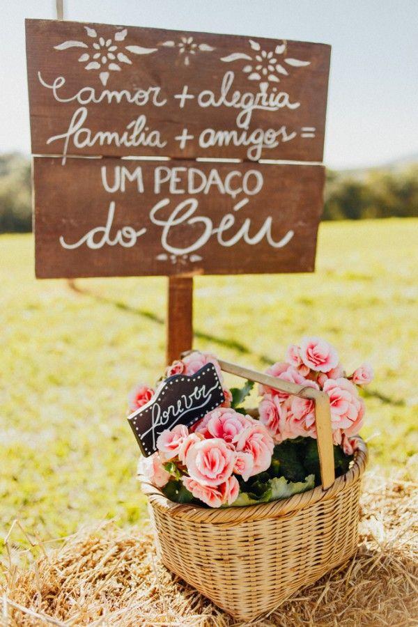 plaquinha rústica para casamento