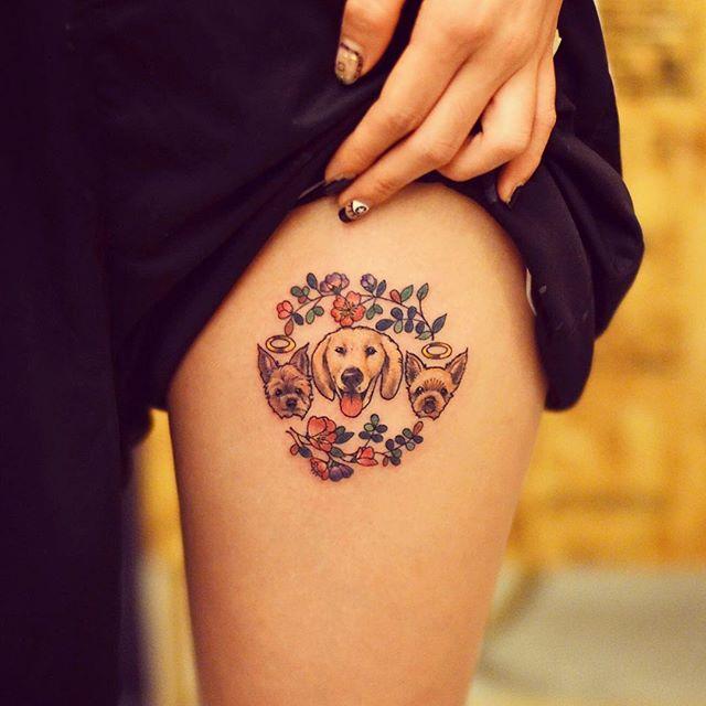 tatuagem feminina de animais na coxa 2021