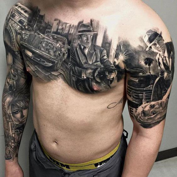Tatuagem masculina no braço realista