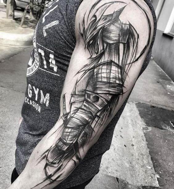 Tatuagem masculina no braço Sketch Tattoo