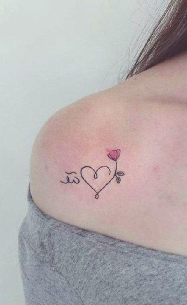 tatuagem no ombro de coração 2021