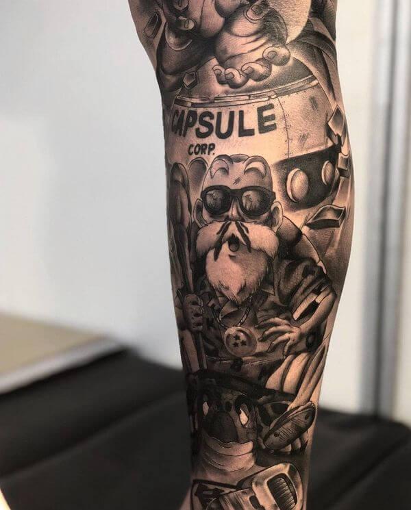 Tatuagens realistas na perna masculina