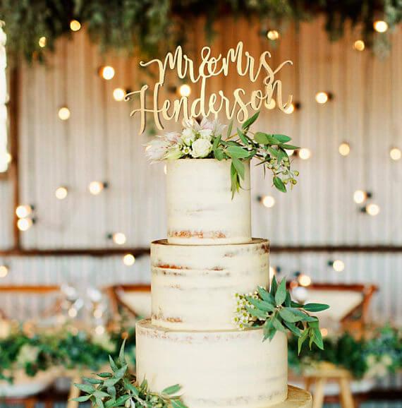 topo do bolo de casamento com nomes