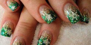 unhas decoradas verdes com glitter
