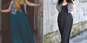 vestido longo plus size com colete jeans